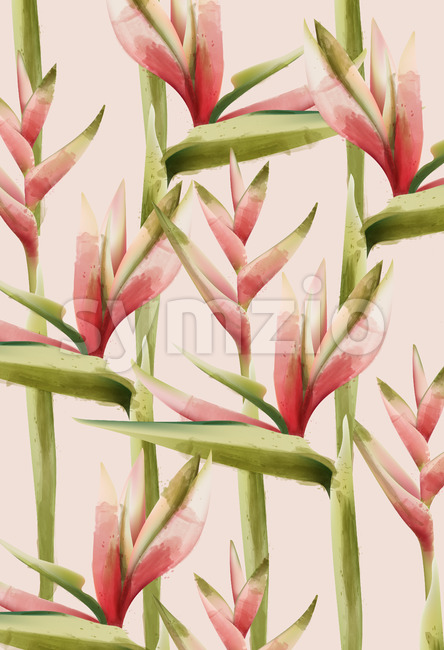 Bird of paradise flower pattern. Green and red palette. Watercolor. Vector Stock Vector