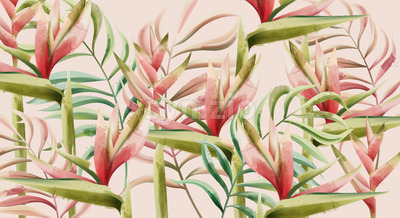 Bird of paradise flower and tropical leaves pattern. Watercolor. Vector Stock Vector