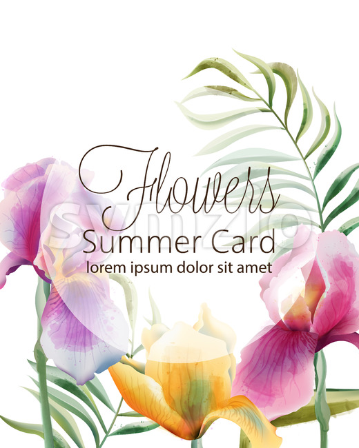 Flowers summer card with place for text. Iris flowers and tropical leaves. Vector