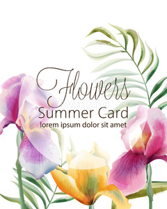 Flowers summer card with place for text. Iris flowers and tropical leaves. Vector Stock Vector