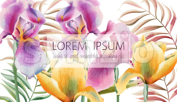 Iris flowers and tropical leaves pattern with place for text. Watercolor. Vector Stock Vector
