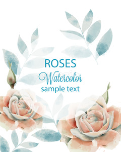 Watercolor roses and leaves card with place for text. Blue and beige color. Vector Stock Vector