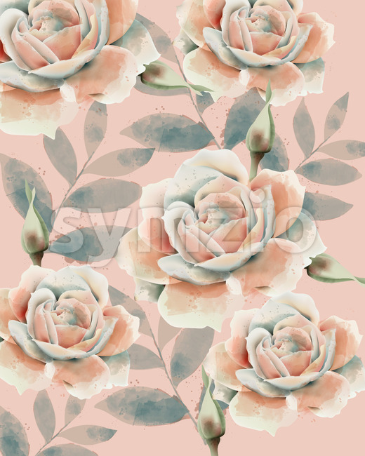 Rose and leaves pattern. Watercolor. Vintage design. Pastel colors. Vector Stock Vector