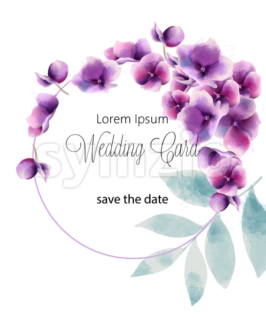 Wedding card with summer pansy flowers and place for text. Watercolor. Vector