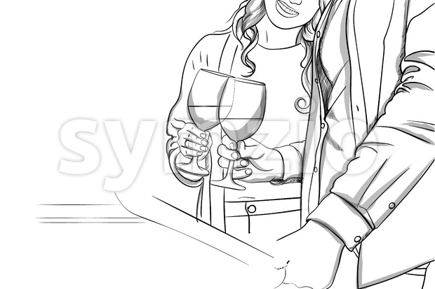 Romantic Young couple clinking glasses with each other. Line art. Vector