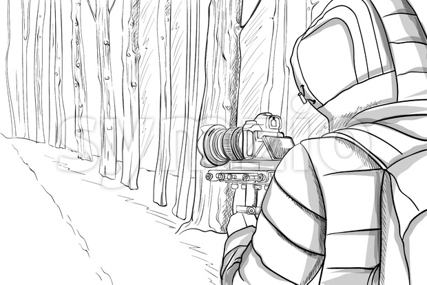 Man in winter clothes shooting video with stabilizer in the forest. Line art. Vector