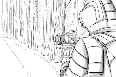 Man in winter clothes shooting video with stabilizer in the forest. Line art. Vector Stock Vector
