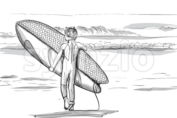 Boy with a surfing board walking to the sea. Line art. Vector