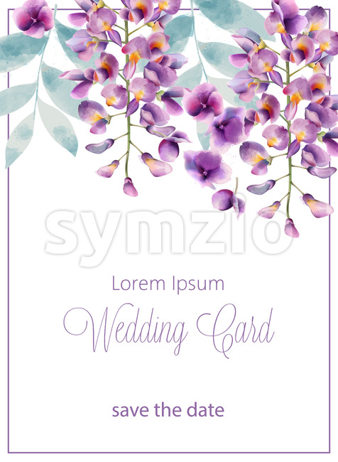 Wedding card with lilac flowers and leaves. Place for text. Watercolor. Vector