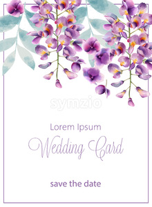 Wedding card with lilac flowers and leaves. Place for text. Watercolor. Vector Stock Vector