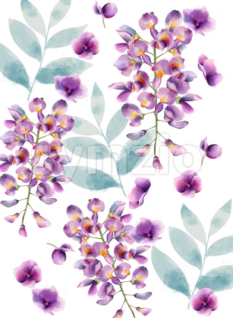 Lilac flowers and green leaves pattern. Watercolor. Vector Stock Vector