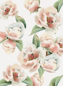 Pale pink peony pattern with green leaves. Watercolor. Vector Stock Vector
