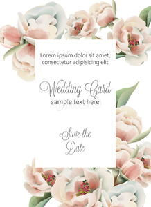 Wedding card with pale pink peonies and place for text. Watercolor. Vector Stock Vector