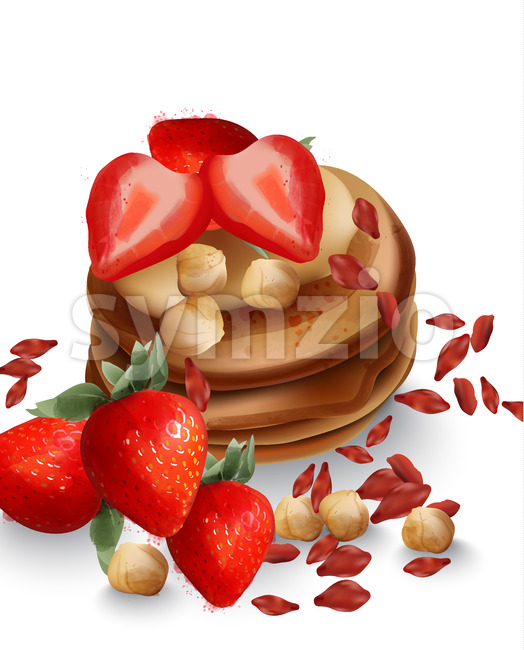 Buckwheat pancakes with strawberry fruits and nuts Vector. Tasty healthy breakfast