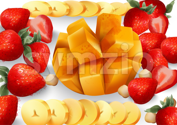 Mango and stawberry Vector. Tropic exotic fruits platter. fresh juicy composition Stock Vector