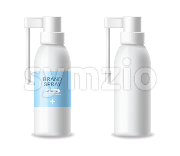 Inhaler container vector realistic. Advertise empty bottles Medicine 3d detailed illustration