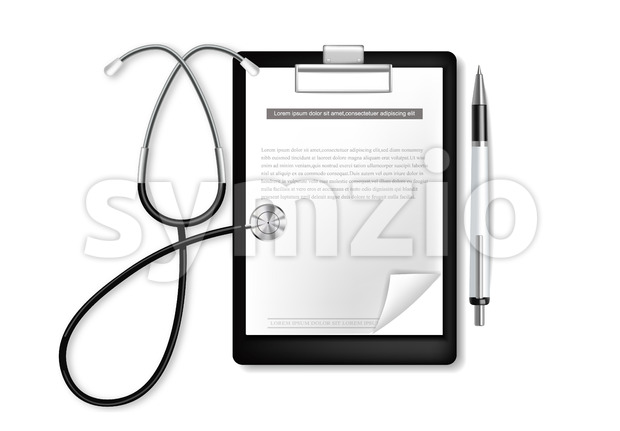 Medical clipboard with stethoscope vector realistic. blank icon isolated on white Stock Vector