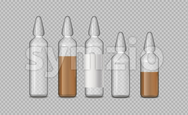 Glass tubes medicine vector realistic. Advertise banner medical pile of different treatment 3d illustration