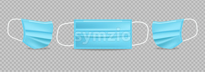 Blue protection mask Vector realistic. Advertise banner 3d illustration isolated Stock Vector