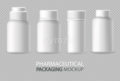White bottles Vector realistic isolated. Advertise empty container. Cosmetics, Medicine or tooth paste 3d detailed illustration Stock Vector