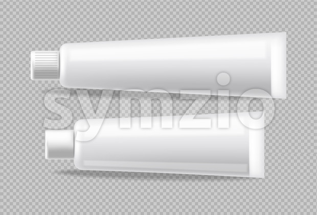 White tubes Vector realistic isolated. Advertise empty container. Cosmetics, Medicine or tooth paste 3d detailed illustration