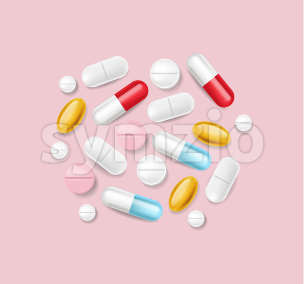 Pills vector realistic. Advertise banner medical pile of different medicines 3d illustration Stock Vector