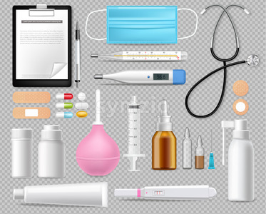 Medical equipment set isolated on white Vector realistic. Advertise banner with protection mask. test, needls and thermometer 3d illustration Stock Vector