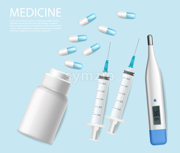 Pills, medical needles and test vector realistic. Advertise banner with test, syringe and thermometer 3d illustration Stock Vector