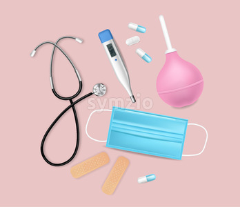 Medical equipment Vector realistic. Advertise banner with protection mask. test, needls and thermometer 3d illustration Stock Vector