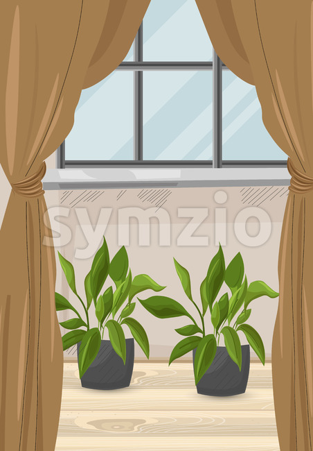 Cozy house with brown curtains and green flowers growing below the window. Wood floor. Vector Stock Vector