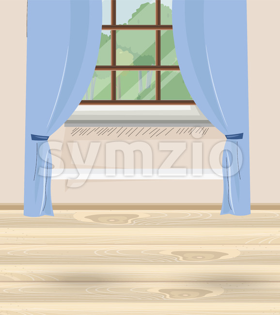 Cozy house with blue curtains and window with view to nature and trees. Wood floor. Vector