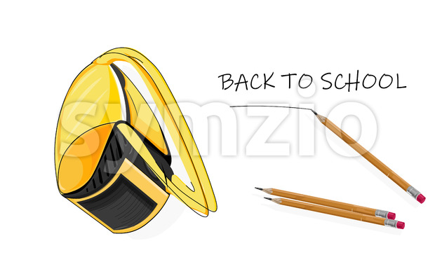Back to school composition with bright yellow futuristic backpack and set of pencil. Vector