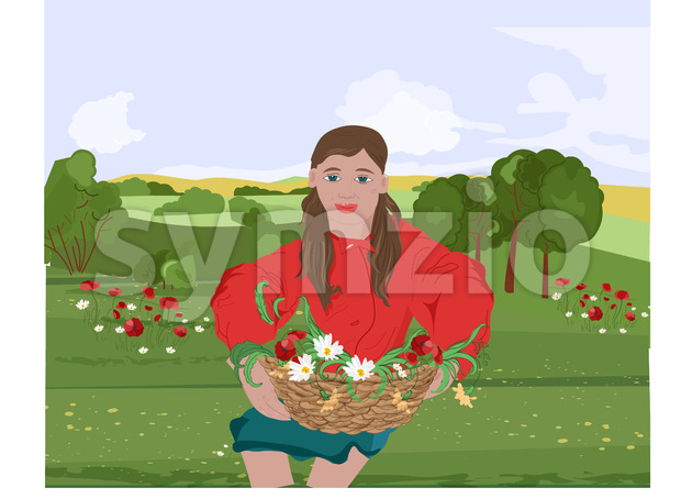 Happy woman with red lips and jacket sitting on grass while holding on her lap a basket with flowers. Mountains on background. Vector Stock Vector