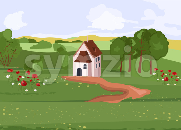House in the middle of green fields with path towards. Flowers and trees growing on side. Vector