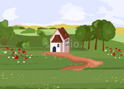 House in the middle of green fields with path towards. Flowers and trees growing on side. Vector Stock Vector