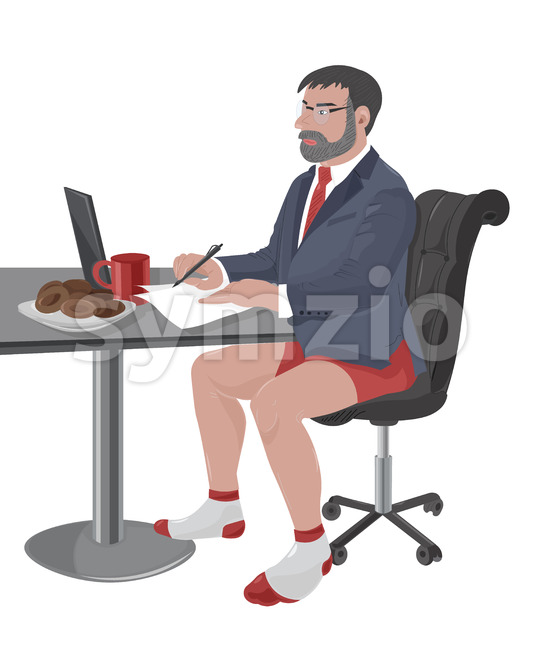 Mature man with beard and glasses working on laptop while wearing suit jacket and red underwear. Coffee and cookies on ...