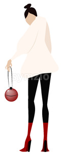 Cartoon drawing of a fashion dressed woman with a red purse. Vector Stock Vector