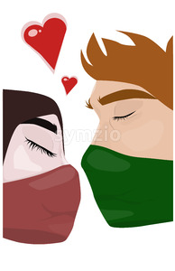 Cartoon drawing of a young couple in masks trying to kiss each other. Vector Stock Vector
