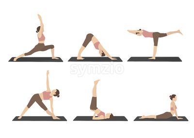 Set of woman performing yoga poses in brown sport clothes. Cartoon. Vector Stock Vector