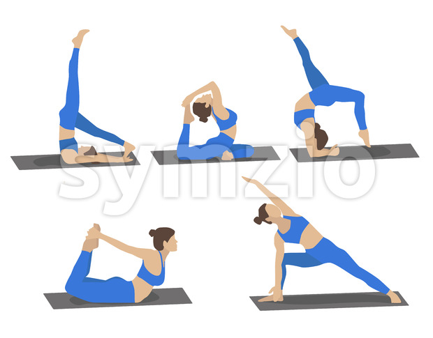 Set of young woman performing yoga poses in blue sport clothes. Cartoon. Vector