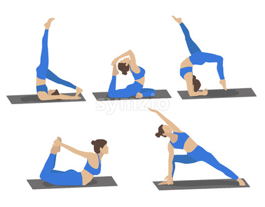 Set of young woman performing yoga poses in blue sport clothes. Cartoon. Vector Stock Vector