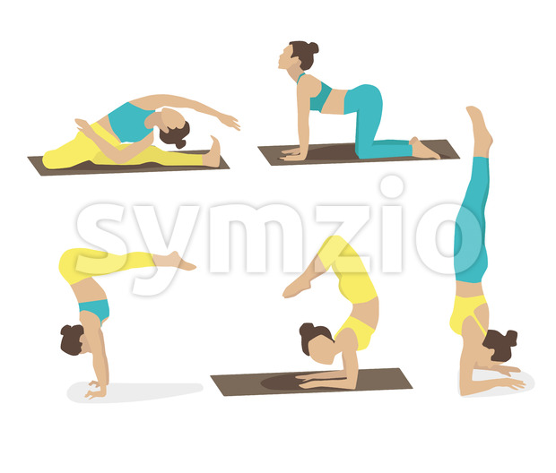 Set of young woman performing yoga poses in turquoise and yellow sport clothes. Vector