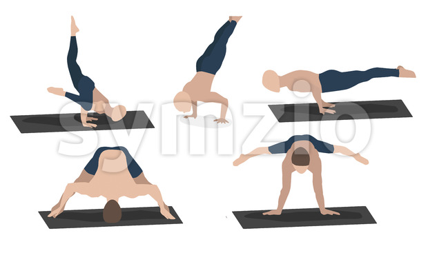Set of young man performing yoga poses in blue sport clothes. Vector
