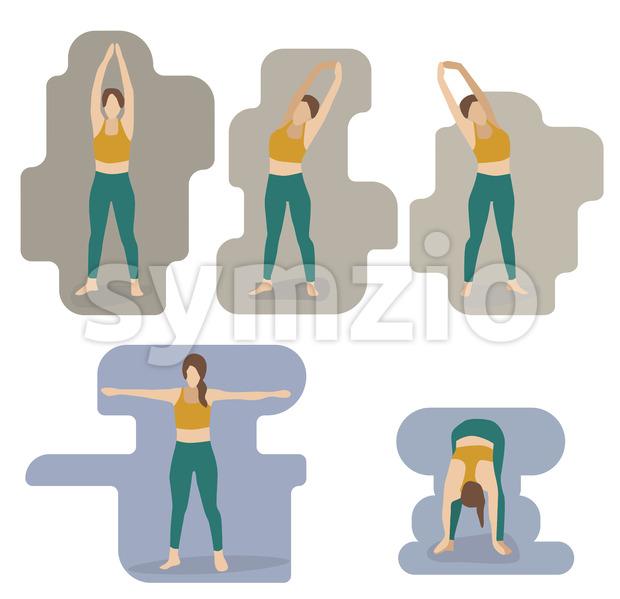 Set of young woman performing yoga poses in green and yellow sport clothes. Vector