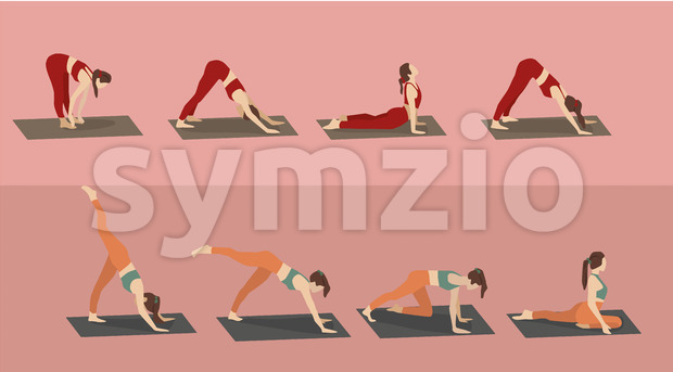 Set of young woman performing yoga poses in red and orange sport clothes. Vector