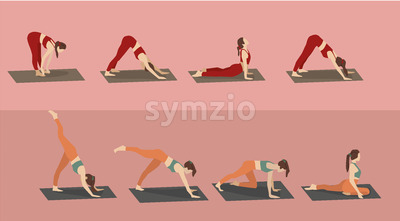 Set of young woman performing yoga poses in red and orange sport clothes. Vector Stock Vector