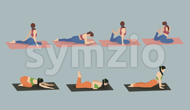 Set of young woman performing yoga poses in blue and red sport clothes. Vector Stock Vector