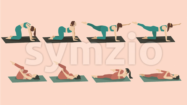 Set of young woman performing yoga poses in green and red sport clothes. Vector