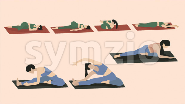 Set of young woman performing yoga poses in blue and green sport clothes. Vector