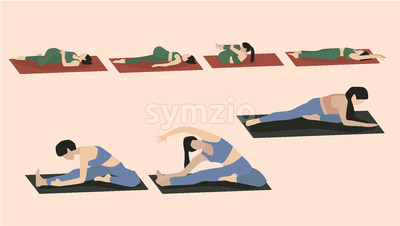 Set of young woman performing yoga poses in blue and green sport clothes. Vector Stock Vector